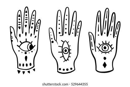 Set fashion hands hamsa fatima amulet symbol of protection. Old Vector illustration cartoon 80s-90s Comic style.