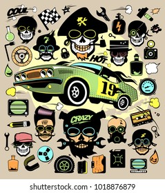 Set of fashion icons and symbols with race car, hipster skulls, music symbols etc.