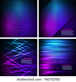 Set Fashion lights background of bright glowing blur lines. Vector illustration Eps 10. Futuristic style glow neon disco club or night party. Gorgeous graphic image template