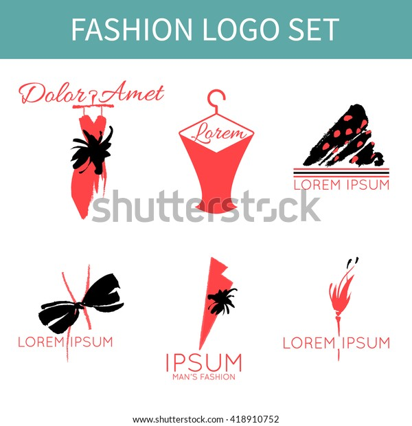 Set of fashion logo designs for clothing shop, salon, stylist, shopper. Consultant or tailoring studio branding identity. Hand drawn trendy brand identity elements. Dress, bow, pin.