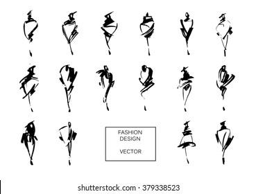 Set of fashion logos hand drawn. Vector fashion illustration. Monochrome sketches isolated.