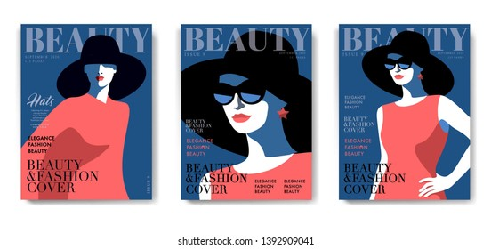 Set of fashion magazine cover designs. Abstract woman in red dress, big hat and sunglasses. Isolated female portrait, text, blue background. Vector illustration