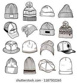 Set of fashion men's caps and hats sketches: baseball caps, snap-back cap, trucker cap, baker boy cap, knitted hats, hats with a pom pom, sports hats, fisherman beanie, bucket hat.