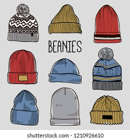 Set of fashion men's caps and hats sketches: baseball caps, snap-back cap, trucker cap, baker boy cap, knitted hats, hats with a pom pom, sports hats, fisherman beanie, bucket hat. Colored vector