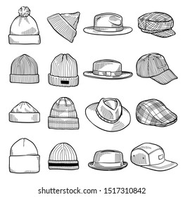 Set of fashion men's caps and hats sketches: baseball caps, felt hats, trucker cap, baker boy cap, knitted hats, fisherman beanie, bucket hat. Vector isolated