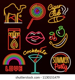 Set of fashion neon sign. Glowing light banner. Night bright signboard. Summer logo, emblem. Club Bar concept on dark background. Editable vector. Cigarette Lollipop Cocktail Rainbow Label Love Camel.