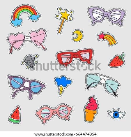 fc17651a5b91 Set Fashion Patch Badges Cute Element Stock Vector (Royalty Free ...