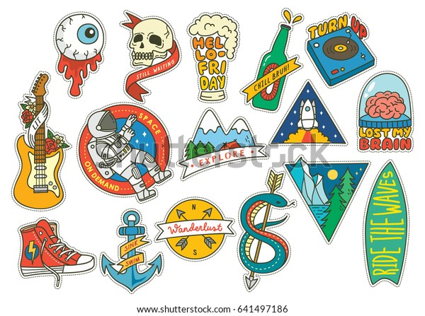 Set of fashion patch with guitar, cosmonaut, beer and other object