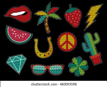 Set of fashion patch icons with sequin texture in pop art cartoon style, trendy summer nature designs. EPS10 vector.