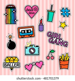 Set of fashion patches and badges. Modern slogans. Rainbow effect. Girl gang. Milkshake and fries.