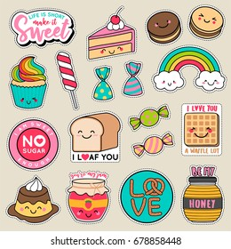 Set of fashion patches, cute colorful badges, fun cartoon icons design vector in dessert concept