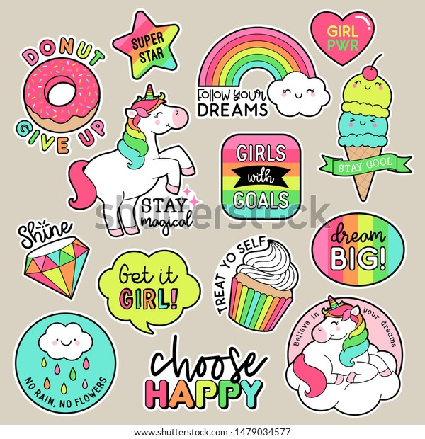 Set Fashion Patches Cute Colorful Badges