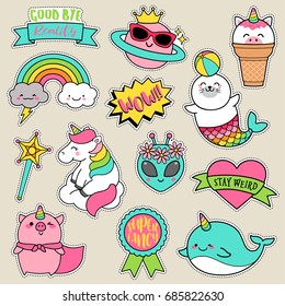 Set of fashion patches, fun pastel badges, cartoon icons design vector in cute fantasy concept