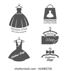 Set of fashion shop logos, labels, icon isolated on white. Vector illustration