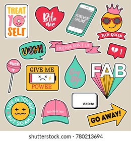 Set of fashion teenage girls patches, cute feeling badges, fun cartoon icons vector in teenager girl concept