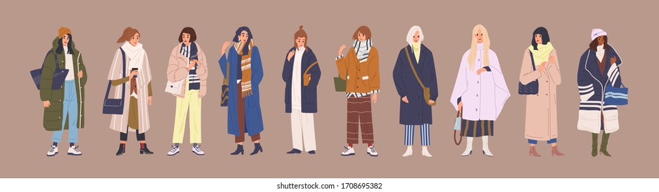 Set of fashion woman in trendy clothes vector cartoon illustration. Collection of classy colorful street style outwear female isolated. Fashionable girl demonstrate winter, spring and autumn clothing