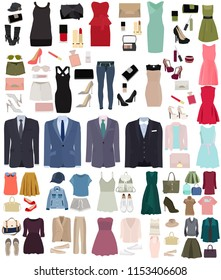 set of fashion women clothes