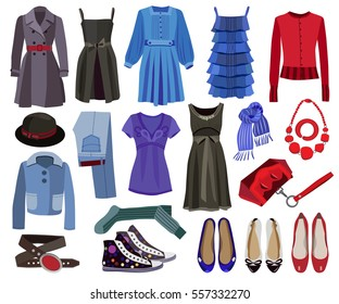 set of fashion women's clothes isolated on white background (vector illustration)