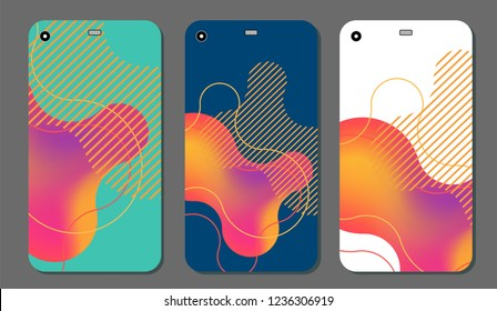 Set fashionable abstract ornaments for mobile phone cover and screen . The visible part of the clipping mask. The sample is ready for printing after the release clipping mask.Vector