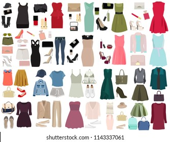 set of fashionable dresses, fashionable clothes