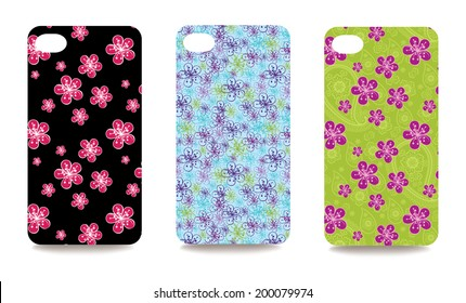 Set fashionable floral ornaments for mobile phone cover. The visible part of the clipping mask. The sample is ready for printing after the release clipping mask.Vector illustration
