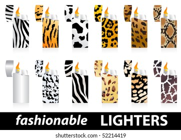 Set of fashionable lighters with wild skin patterns
