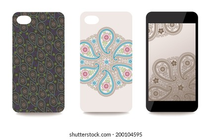 Set fashionable Paisley ornaments for mobile phone cover and screen . The visible part of the clipping mask. The sample is ready for printing after the release clipping mask.Vector illustration