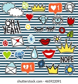 Set of fashionable patches elements like heart, flower, crown, mail, cloud, lips, diamond, eyes. Vector hand drawn cute and funny fashion stikers kit. Modern doodle pop art sketch badges and pins.
