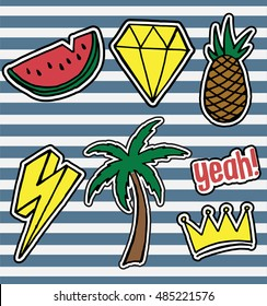 Set of fashionable patches elements like crown, diamond, pineapple, water melon, palm tree, flash