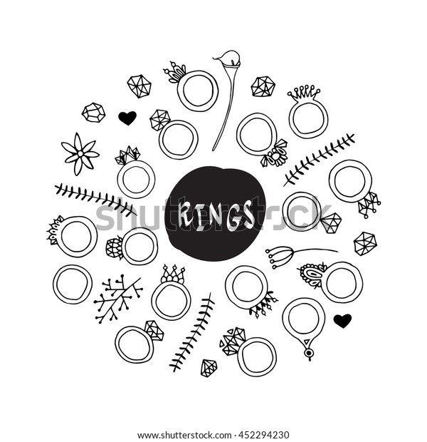 f1298fa47ab23 Set of fashionable rings and stones, design elements. Isolated on white. Hand  drawn