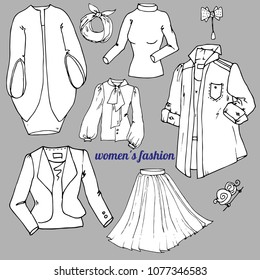a set of fashionable stylish women's clothing. Vector isolated objects doodles based on hand drawn sketch for design. Urban style, elegant style