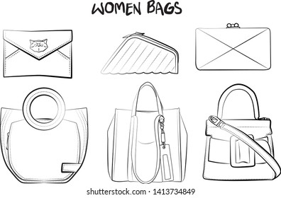 Set of fashionable women's bags(coloring book).  Vector sketch illustration isolated on a white background.  Different types of stylish bags, satchel, saddle, hobo, doctor, clutch, duffel, tote, barre