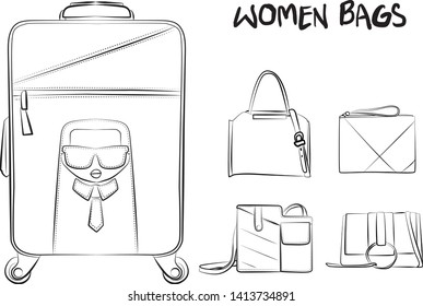cfa5b920 Set of fashionable women's bags(coloring book). Vector sketch illustration  isolated on a