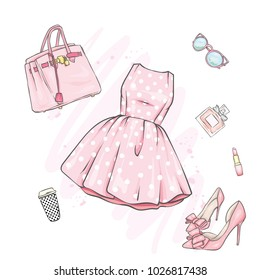 A set of fashionable women's clothing and accessories. Dress, bag, shoes with heels, lipstick, perfume and glasses. Vector illustration. Fashion & Style.