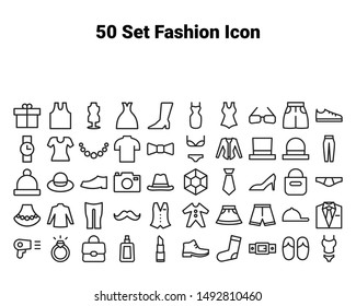 set of fasion icons, such as shirt,jeans,jacket.