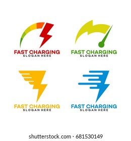 Set of Fast Charging Logo Template with Thunder symbol