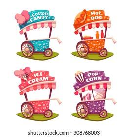 Set of fast food carts. Ice cream, cotton candy, popcorn, hotdog.