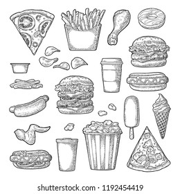 Set fast food. Cup cola, coffee, hamburger, pizza, hotdog, fry potato, carton bucket popcorn, ketchup, donut, ice cream, popsicle chips Vector vintage black engraving illustration isolated on white