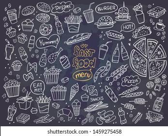 Set of fast food doodles on chalkboard. Vector illustration. Perfect for menu or food package design.