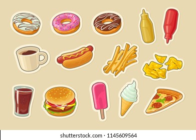 Set fast food icon. Cup cola, coffee, donut, ice cream, popsicle, hamburger, pizza, hotdog, fry potato, ketchup, mustard, chips. Vector flat color illustration. Isolated on beige background.