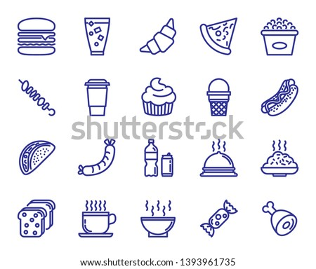 Set Fast Food Icons 64 X 64 Pixel Stock Vector (Royalty Free