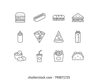 Set of fast food icons with hamburger, hotdog, sandwich, mustard, crepes, pizza, burritos, chicken nuggets, soda drink, French fries, tacos.