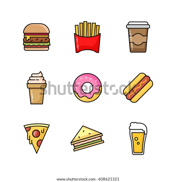 Set Fast Food Icons Takeaway Street Stock Vector Royalty