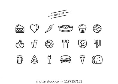 Set of fast food icons in thin line style. Black print on white background