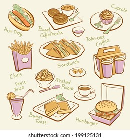 Set of fast food. Line drawing of morning tea.