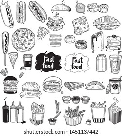 Set of fast food made in vector graphics.