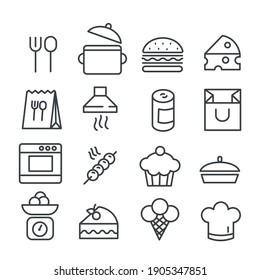 Set of fast food in minimal icon. Cooking concept. Modern outline on white background