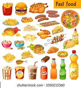 Set of fast food. Salted nuts, squid  rings, pop corn, cornflakes, corn  sticks, dried  fish, instant noodle, carbonated  drinks, chocolate bars, french fries. Isolated vector illustration.