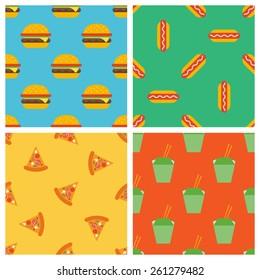 set of fast food seamless patterns