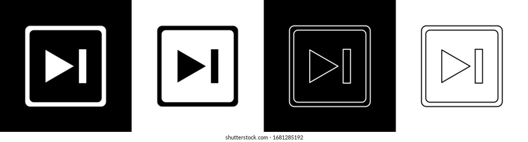 Set Fast forward icon isolated on black and white background.  Vector Illustration